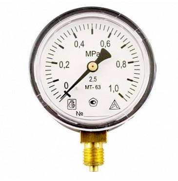 Манометр МТ 63П 1,0МПа (метрическая резьба - М12х1.5)